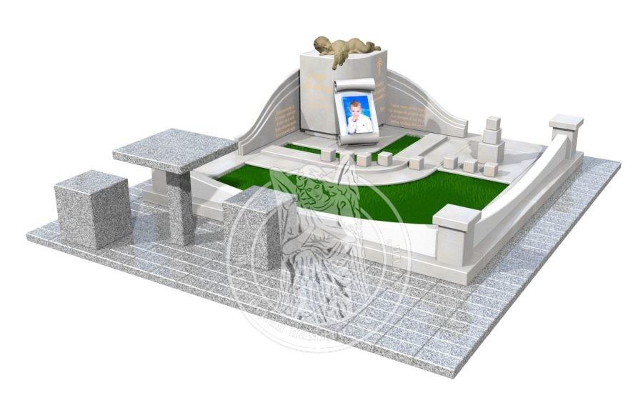 3Д проект Детский памятник с ангелочком на тучке