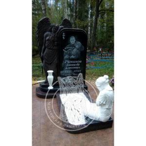 Надгробие для одного из гранита с ангелом и скорбящей матерью №340