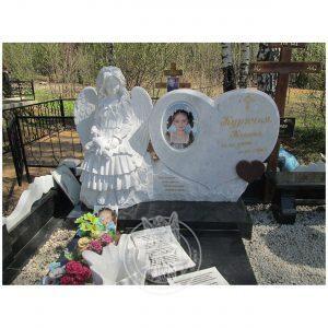 Детский памятник сердце с ангелочком №213