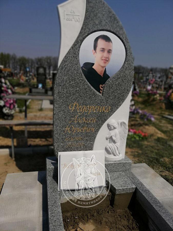 Одинарное надгробие с ангелочком и фотокерамикой
