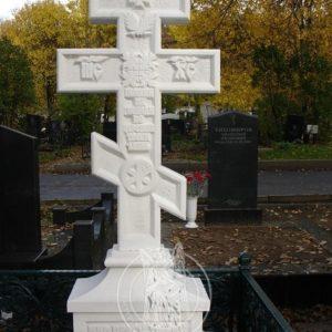 Православный мраморный крест и гранитным надгробием № 85 Цена: Уточняйте!
