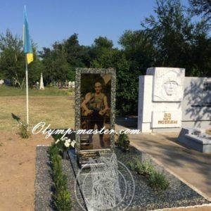 Памятник из гранита Анортезит со стеклом,  бойцу АТО № 22