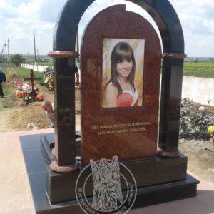 Памятник из гранита с фото на керамике №123