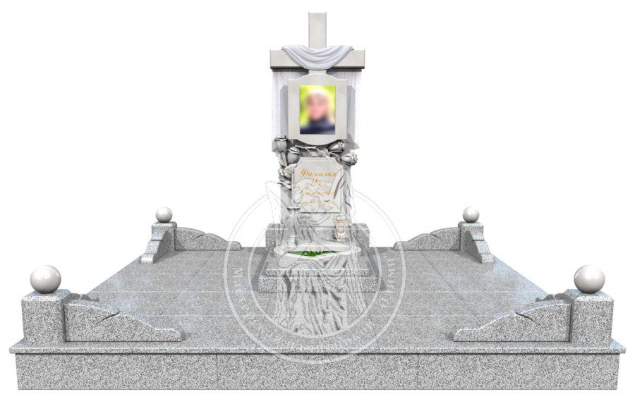 3Д модель Комплекса памятника Крест с полотенцем и цветами из мрамора и гранита