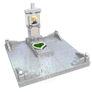 3Д модель Комплекса памятника «Крест с полотенцем и цветами» из мрамора и гранита № 357