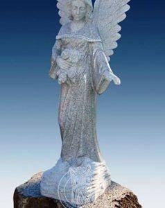 Ангелочек из серого гранита № 12
