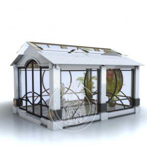 Мраморный склеп  со стеклом и гранитом № 20