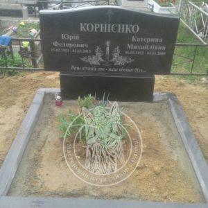 Двойное надгробие из гранита на кладбище в г. Бровары Киевской обл.№ 87