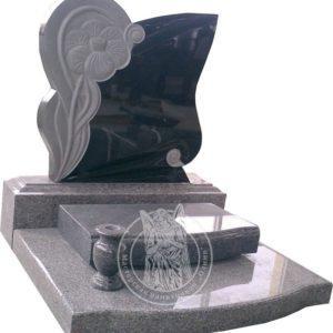 Памятник с цветком из гранита № 24