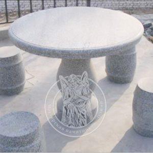 Гранитный стол с табуретками № 28