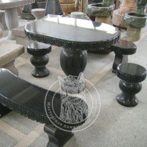 Стол и скамейки из черного гранита № 19