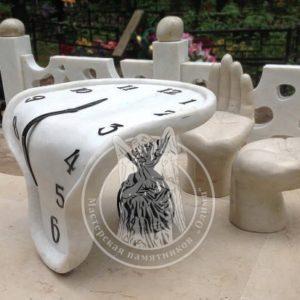 Стол и скамейки из мрамора № 3